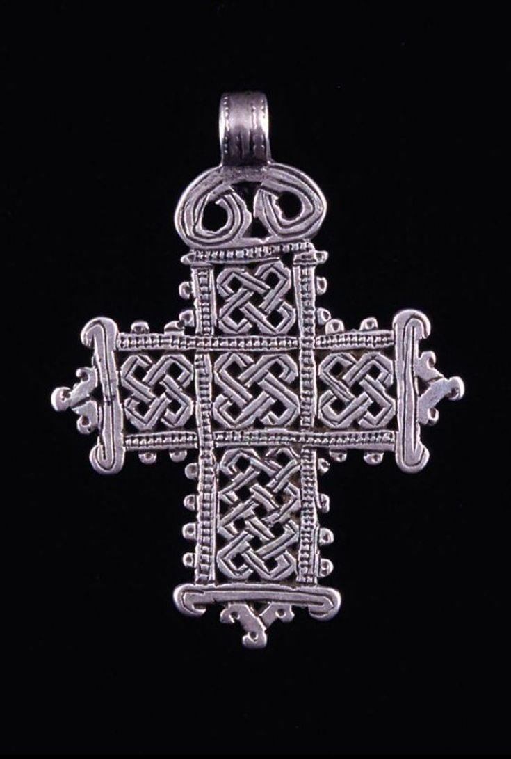 ethiopia pendant cross; silver