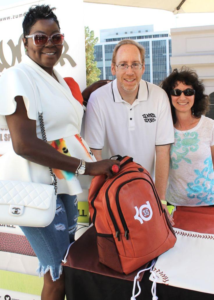 Wanda Durant with a custom Kevin Durant Zumer basketball backpack