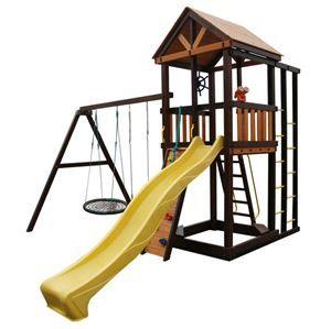 Комплектация:Игровая веранда, крыша деревянная, лестница, песочница, скалодром, скат,поручни металлические, ручка пластиковая - 2 шт, качели шина, качели пластиковые, канат, штурвал, бинокль