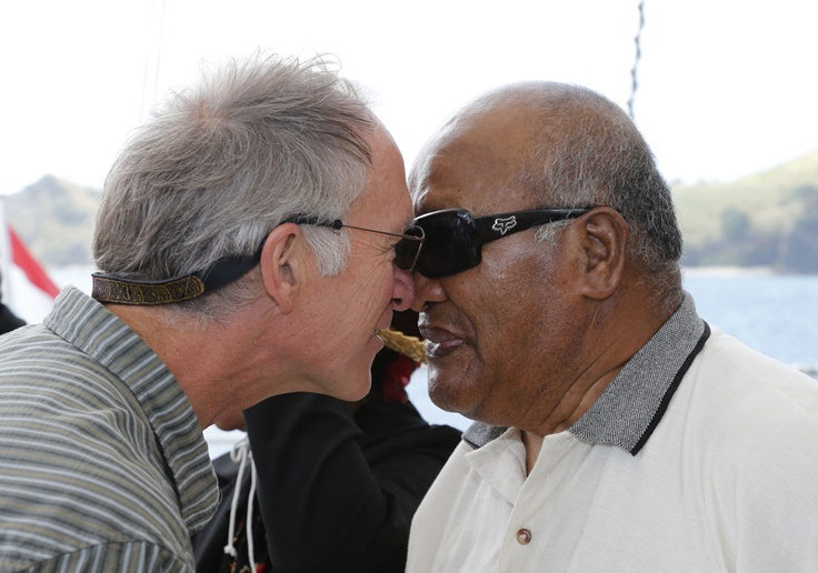 Captain Joel Stewart hongi's Ngati Kura elder Hohepa Epiha onboard the new Rainbow Warrior (C) GREENPEACE  / Marple