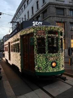 The tram tricolor Milan Italy