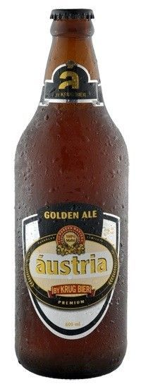 Cerveja Áustria Golden Ale, estilo Blond Ale, produzida por Krug Bier, Brasil. 4.7% ABV de álcool.