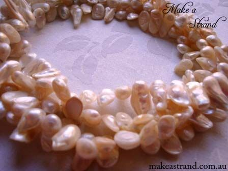 I've always imagined this gorgeous super-long baroque pearl necklace worn as a choker by a bride at a beach setting! In stock: AU$180 + postage