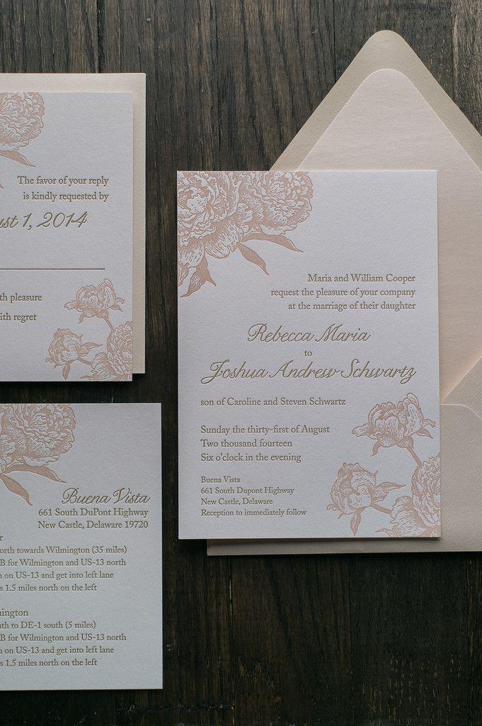 ELIZABETH Suite Romantic Package, blush and champagne, neutrals, blush peonies, neutral wedding invitations, letterpress wedding invitations