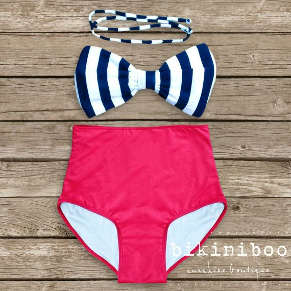 Bow Bandeau Bikini - Vintage Style High Waisted Pin-up Swimwear -  Red with Black and White Bow - Unique  So Cute! on Etsy, $49.00
