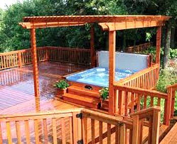 hot tub deck with pergola - for our acreage one day ;)