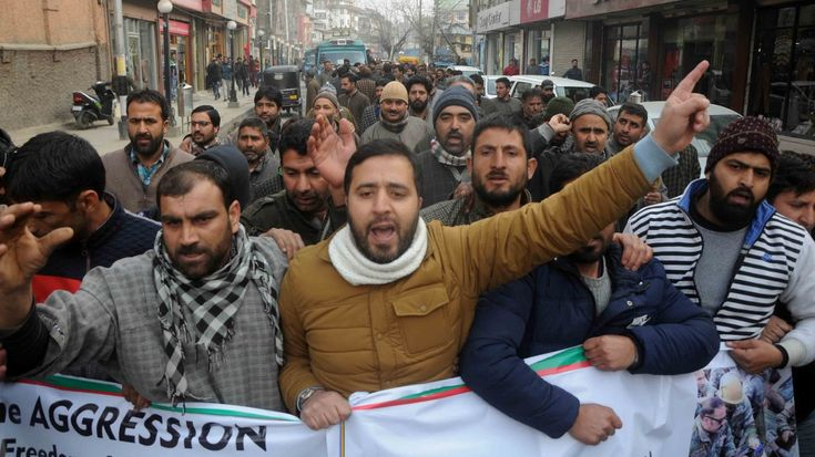 Supporters of Engineer Rashid held a march to protest misbehaviour against him in state assembly