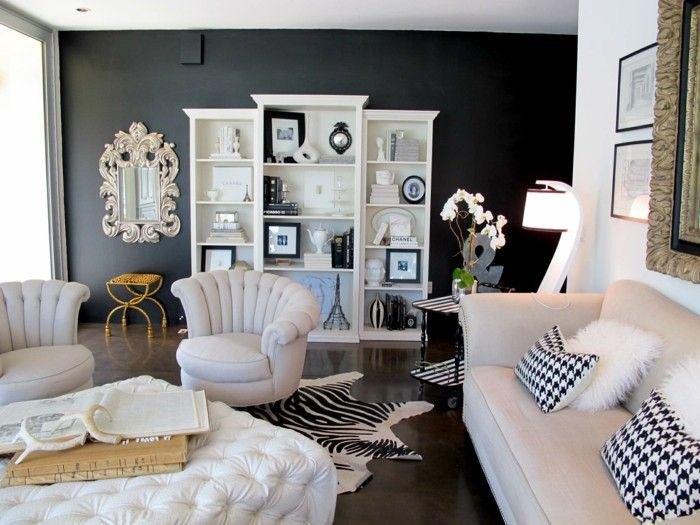Wall Color Black White Furniture Black Accent Wall Fur Carpet Part 77