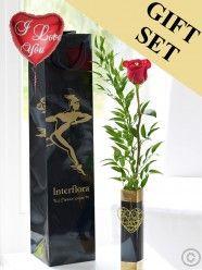 Single Kiss Rose Vase with Love Balloon