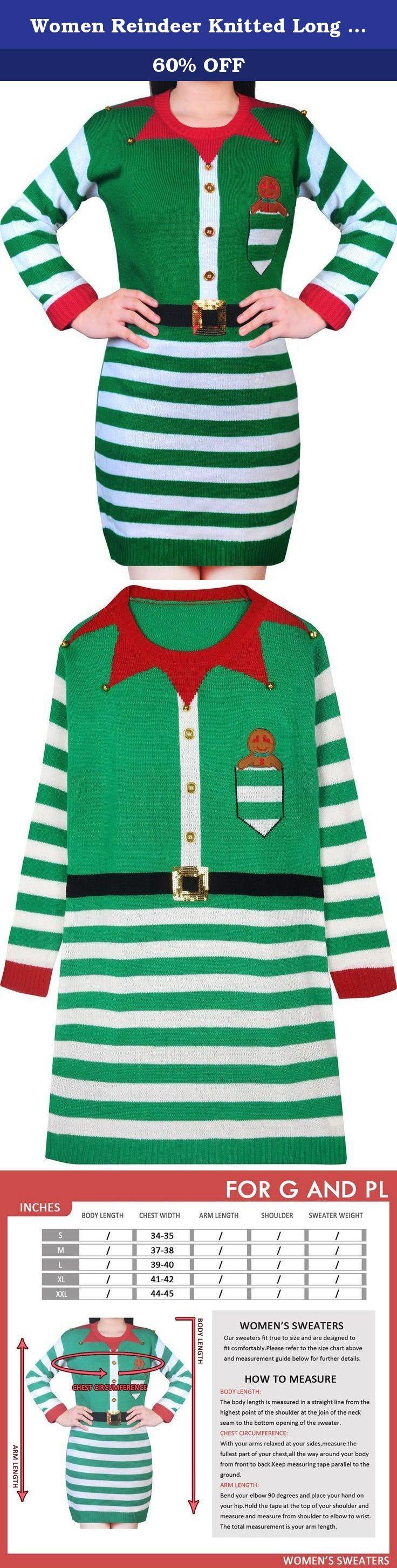 Women Reindeer Knitted Long Sleeve Christmas Xmas Fleece Pullover Sweatshirt Sweater Jumper Green XL. For G and PL Women's Ugly Christmas Sweaters / Cardigans / Sweater Dress 100% Premiere Acrylic Ugly Christmas Sweater Made For G and PL. Well Made Double Panel Construction and Reinforced Seams. Fast Ship(FBA):Fulfilled by Amazon with two-day Shipping (Ship from USA) Size of our products is Matching With US Size, Fits to Amazon Regular Women Sweaters Size! Fits True to Size.Please See…
