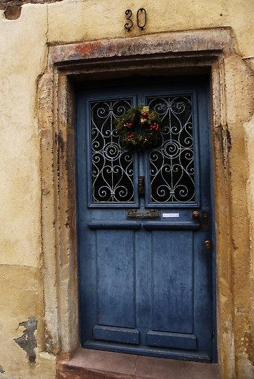 Beautiful blue wooden door