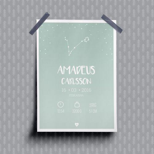 Personalized birth poster Zodiac 40x50cm