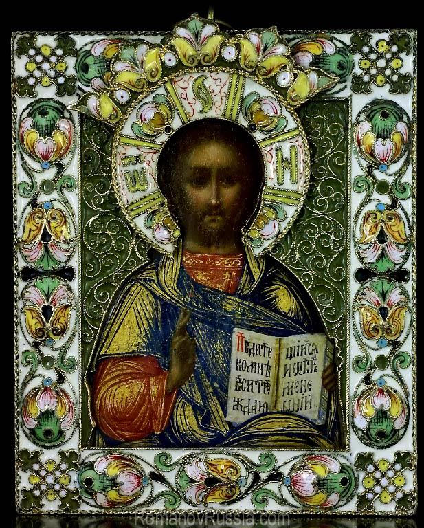 """An Antique Russian gilded silver and shaded cloisonne enamel miniature icon of Christ Pantocrator (""""Almighty"""" or """"All-powerful"""" in Greek), Moscow, circa 1890."""