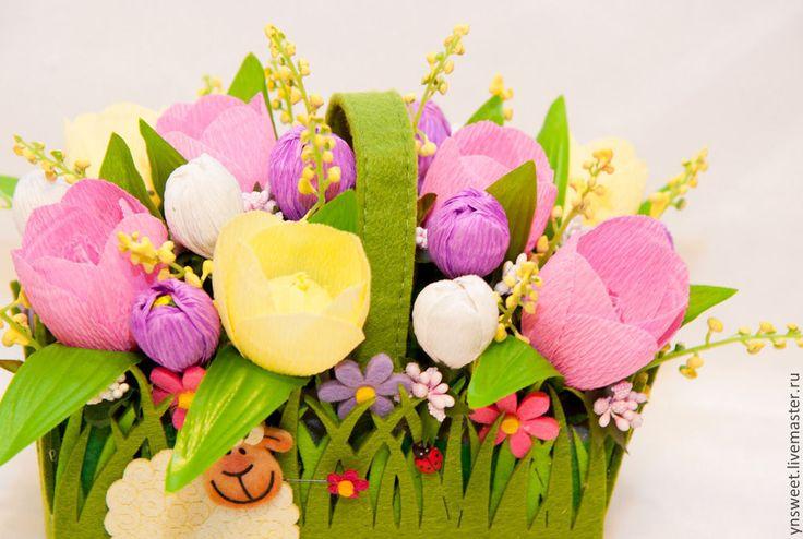 Купить Композиция из конфет - Весенний барашек) - букет из конфет, букет, букет цветов, композиция из цветов