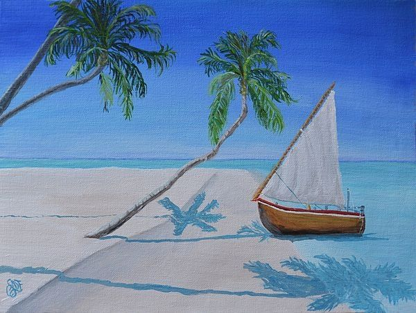 Painting by Christine Dekkers, Palms and Sailboat , painted in Cape Coral, Florida  christinedekkersd...
