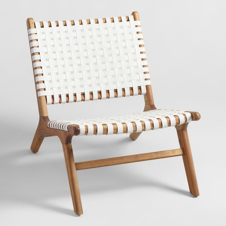 Solid acacia wood paired with flat woven weather-resistant wicker straps in white creates visual contrast and contemporary appeal. These versatile seats feature a low profile, wide seat and pitched back for enhanced comfort.