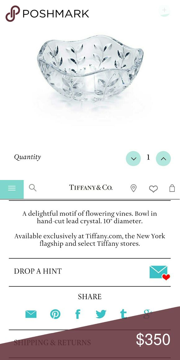 Selling this Tiffany & Co lead crystal bowl in my Poshmark closet! My username is: heath501. #shopmycloset #poshmark #fashion #shopping #style #forsale #Tiffany & Co. #Other