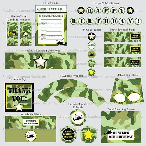 Printable Camo/ Army Theme Party