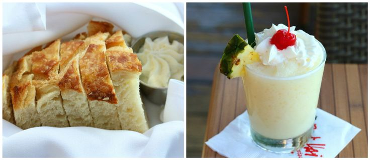 Pina Colada and delicious bread! The Daring Gourmet Dines Out:  Bali Hai Restaurant, Shelter Island, San Diego, California