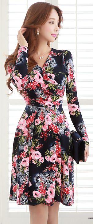 StyleOnme_Floral Print Wrap Style Flared Dress #feminine #wrapdress #girly #floral #elegant #koreanfashion #kstyle