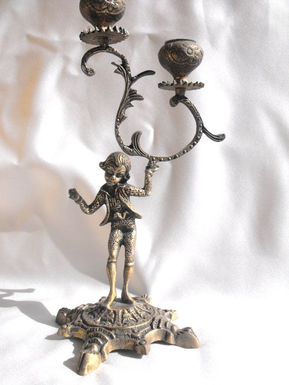 Vintage Brass Victorian Candle Holder Double by DeeSweetNostalgia, $19.99