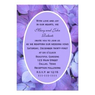 Purple Wedding Invitations ø Hydrangea Vow Renewal Invitation