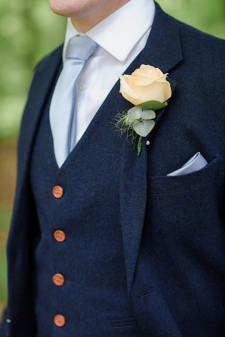 Rose Buttonhole Groom Ivory Pretty Natural Rustic Woodland Wedding http://riamishaal.com/