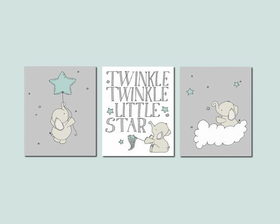 Teal and Gray Nursery Art Prints, Nursery Decor, 11x14 Prints, Set of 3, Elephants and Stars Art, Kids Wall Art, Twinkle Twinkle Little Star...