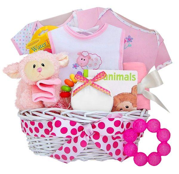 Baby Shower Baskets for Girls   Baby Shower Baskets – Little Lamb Baby Girl Keepsake Gift Basket ...