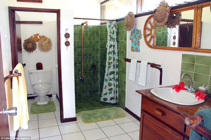 Pictured: A bathroom in the Motu Tiano home.Currently listed at $11.88 million, the property will be sold at or above $6 million at auction on 23 August 2017 in cooperation with Maima Sylvain of Agence Jeanine Sylvain. That works out as a listing price of about £9.2m and a minimum sale price of £4.6m. The owners,Jim Simpson and his wife, said 'nowhere else in the world offers the natural beauty and tranquillity of Motu Tiano'