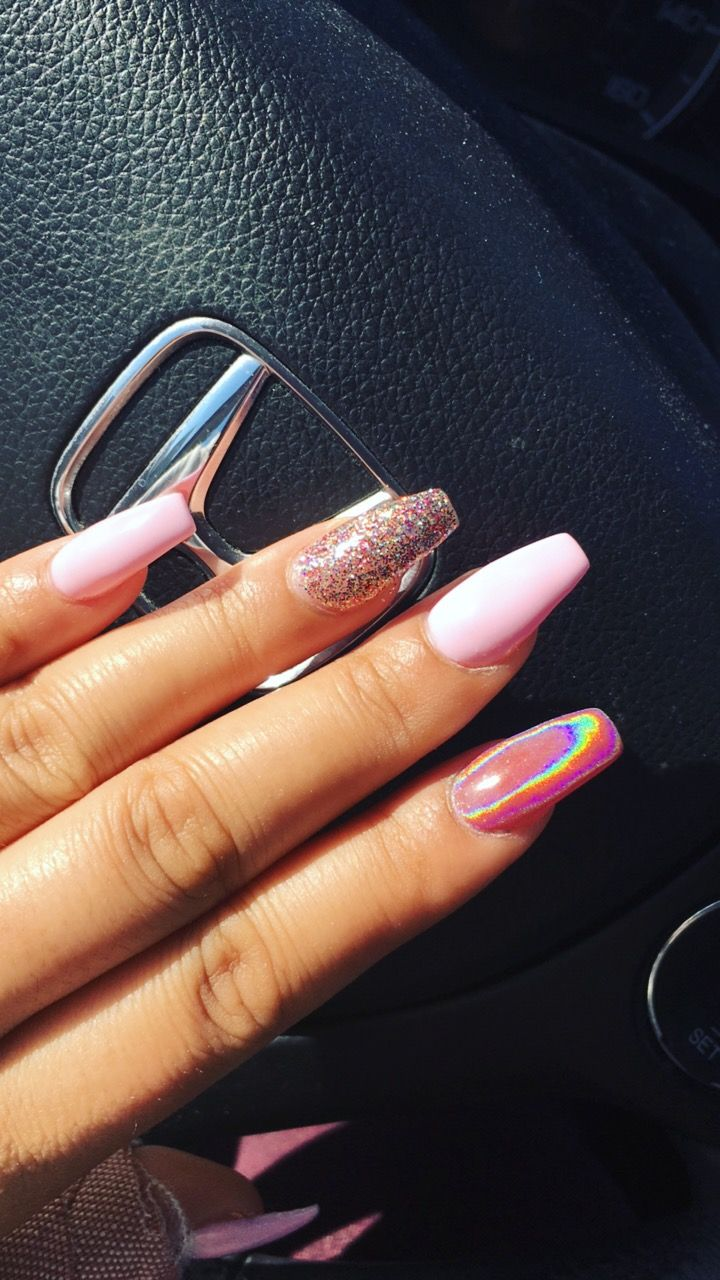 Valentine's Day nails @nailsbymissnessad instagram coffin nails holographic
