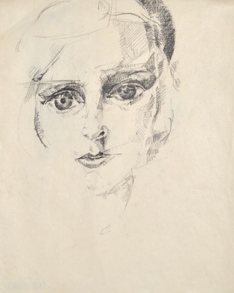 Erika Giovanna Klien, Self-portrait, 1924, chalk and pencil, 26 x 20,5 cm