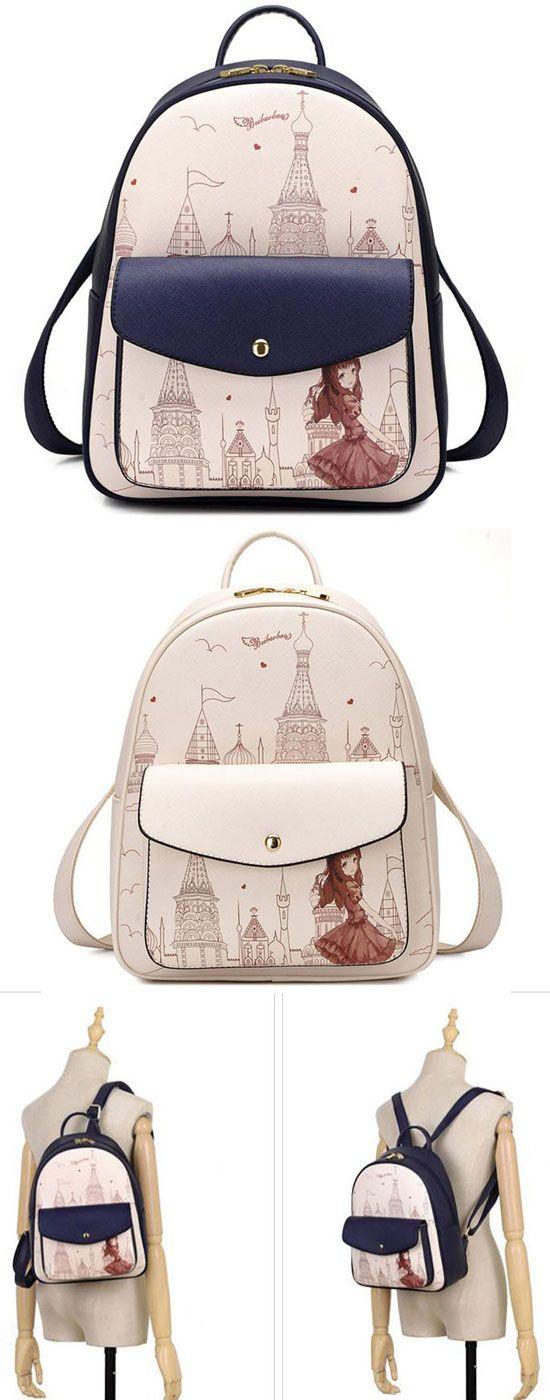 Sweet Girl's PU Cartoon Travel Backpack Church Tower Girl Printing School Backpack for big sale! #tower #backpack #cartoon #pu #Bag #girl