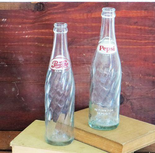 Old Pepsi Glass Bottles Swirl Design Lot Of Two Ebay