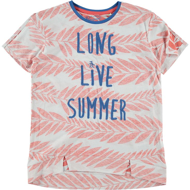 """Original Penguin"" White & Red Long Live Summer T-Shirt ..."