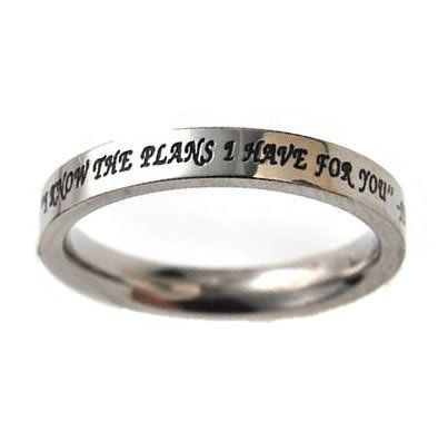 "Christian Women's Stainless Steel Absitnence Princess Cut ""I Know the Plans I Have For You"" Jeremiah 29:11 Comfort Fit 3mm Cubic Zirconium Chastity Ring for Girls - Girls Purity Ring - Stackable:Amazon:Jewelry"