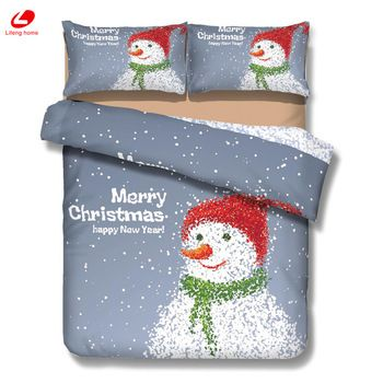 Lifeng home Chrimstmas Bedding decor Stana bedding set Snowman duvet cover 3D bedclothes Xmas tree flat sheet Christmas decor 3D