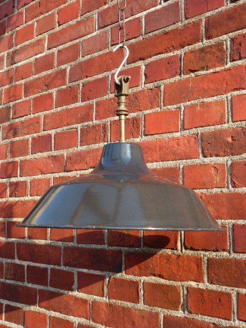 Franse #emaille hanglamp - #industriële stijl
