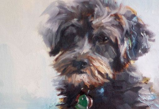Custom Pet Portrait Painting Detail by Artist Jennifer Brandon