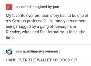 I an-animal-imagined-by-poe My favorite ever pronoun story has to be one of my German professor's. He fondly remembers being mugged by a gang of teenagers in Dresden, who used Sie (formal you) the entire time. – iFunny :)