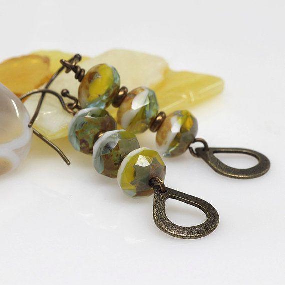 Olive Mustard Ivory Dangle Earrings Designer Czech Glass