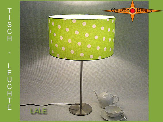 Tischleuchte LALE Ø 40 cm Tischlampe Grün Punkte. Ein frühlingsfrischer Hingucker