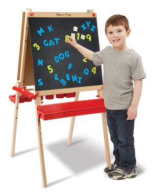 Deluxe Magnetic Standing Art Easel: Help spark creative expression in your budding artist with this generously sized, deluxe wooden easel featuring both a magnetic chalkboard and a dry-erase board. The removable plastic trays mean that kids have loads of easy-reach art supplies (not included) at their fingertips. Plus 39 letter and number magnets that are great for extended play!
