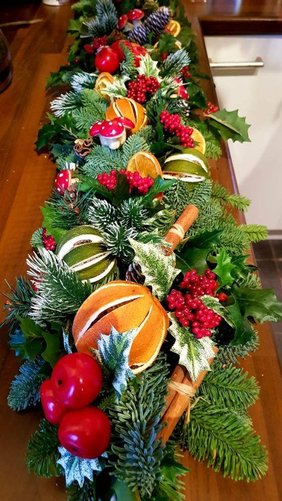 Fresh Swag Christmas Table Decor Table Centrepiece Real Christmas Decor Christmas Fruit Table Decora Holiday Wreaths Christmas Christmas Decorations Christmas