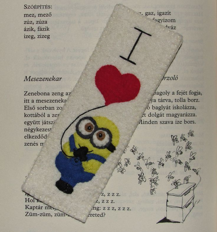 Wool Felt Minion Bookmark, Felt Bookmark, Minion Bookmark, Gru Bookmark, Despicable Me, Minions, Gift, Handsew Bookmark by NitaFeltThings on Etsy