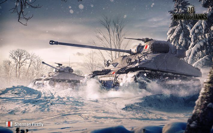 Herunterladen hintergrundbild sherman firefly, winter, world of tanks, wot