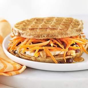 Carrot Cake Waffle Breakfast Sandwich Recipe. All we can say is 'mmmmm!'