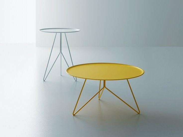 Niedriger runder Couchtisch aus Stahl LINK by Miniforms | Design Giopato