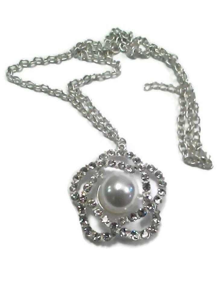 Collana donna necklace con fiore e strass Shiny Flower bianco