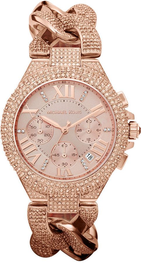 Michael Kors Women's Chronograph Camille Rose Gold-Tone Stainless Steel Bracelet Watch 44mm MK3196 on shopstyle.com